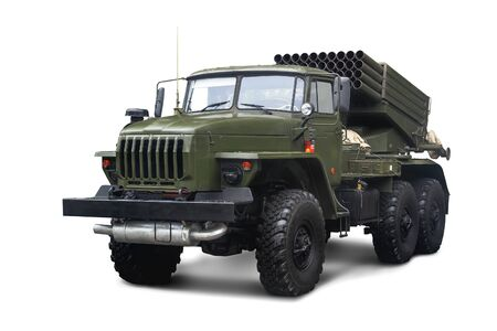 Soviet Multiple Rocket Launcher BM-21 Grad 122 mm mounted on chassis of truck Ural-375D. Isolated on white background.
