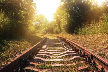 Old abandoned railway with rusty rails in the summer during evening sunset Banco de Imagens