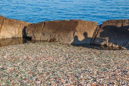 Popular place Steklyannaya also known as Kitovaya Bay near Vladivostok in autumn