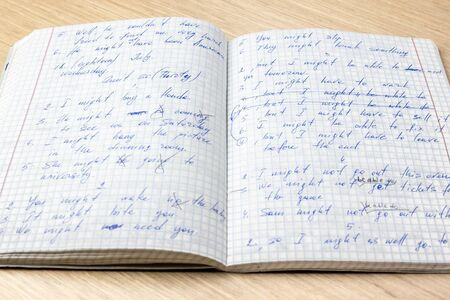 Sheets of school student notebook scribbled with a blue ballpoint pen