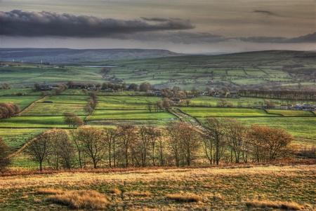 yorkshire dales: Una vista cl�sica en los valles de Yorkshire, p�ramos y tierras de cultivo.
