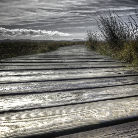 hillwalking: Boardwalk across the moor toward a distant hill, with grass and could formation