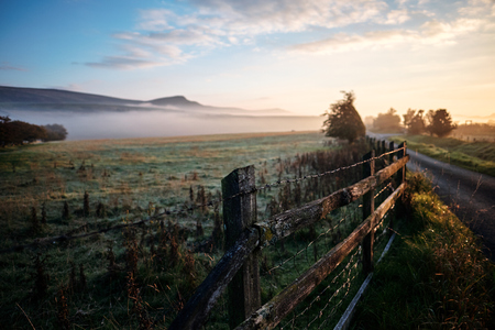 yorkshire dales: Dawn over Embsay Crag in the Yorkshire Dales