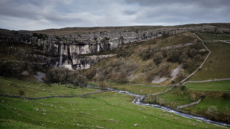 yorkshire dales: Waterfall flows over Malham Cove, Yorkshire Dales