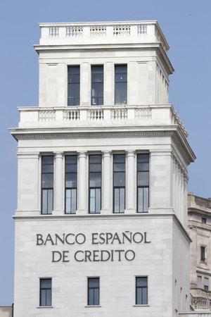 bank owned: BARCELONA, SPAIN - JULY 19: Building of Banesto (Spanish credit bank) is a bank, 88.4% owned by Banco Santander on July 19, 2012. Currently is the 5th-largest banking group in Spain
