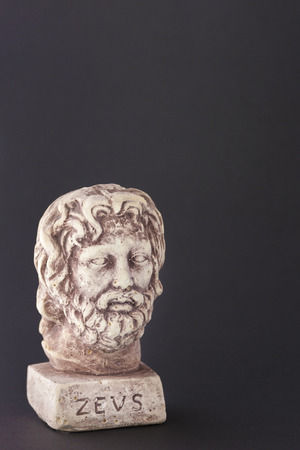 gods: Face of the divine Zeus also called Gods daytime sky represented on a dark background Editorial