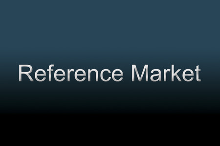 acquiring: Reference Market written against a blue background to understand a financial concept