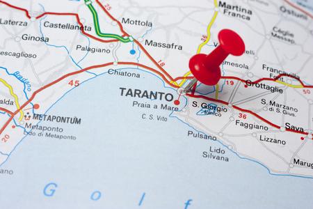 Close-up van Taranto Italië Op Een Kaart Stockfoto