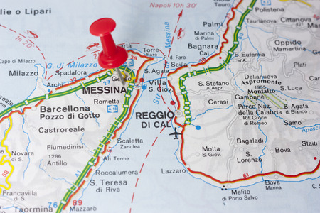 Closeup Of Reggio Calabria Italy On A Map Stock Photo Picture And