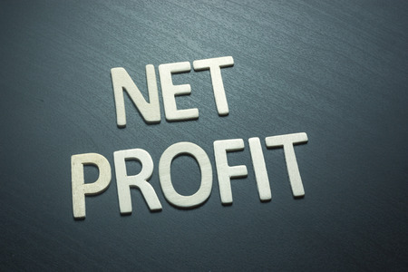 Net profit written with wooden letters on a green background to understand a concept of economics and finance