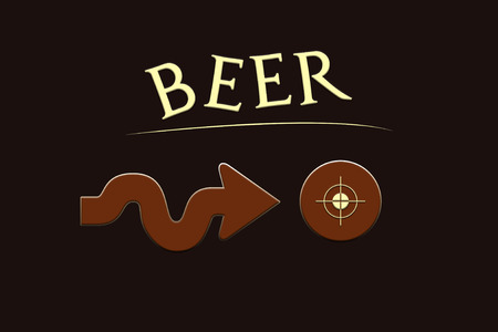 Beer writing with an arrow pointing to the center of thinking of an advertising concept