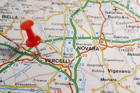 Wegenkaart van de stad Vercelli Italië Stockfoto - 85635680