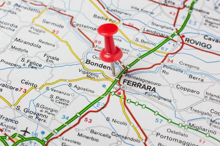 Road map of the city of Ferrara Italy