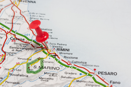 Road map of the city of Rimini Italy Stock Photo