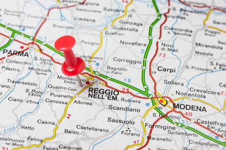 Road map of the city of Reggio Emilia Italy