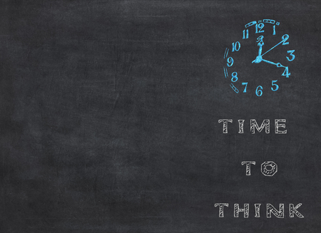 Time to think - clock with text on blue background to mean a business concept