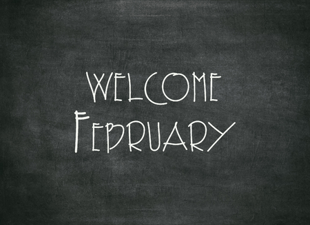 Welcome February - white chalk handwriting on a slate blackboard to mean a concept Stock Photo