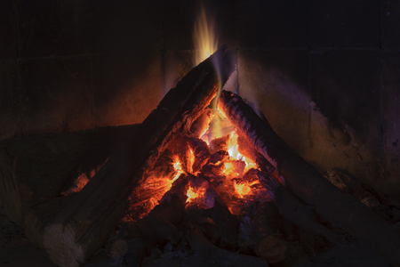 Close up shot of burning firewood in the fireplace to mean a concept