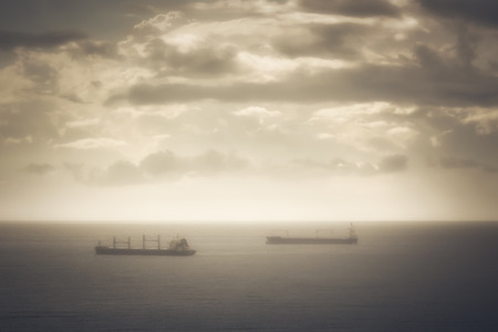 Two large cargo ships cross a stretch of sea in the warm afternoon light, with a soft focus to give a romantic touch