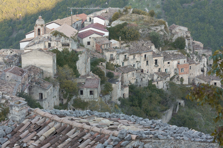 Ruin of an old building, ghost town Romagnano al Monte, Italy