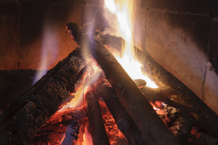 Close up shot of burning firewood in the fireplace to mean a concept Reklamní fotografie