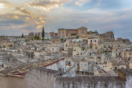Ancient heritage old town of Matera (Sassi di Matera), in southern Italy. Prehistoric dwellings, 2019, the European capital of culture