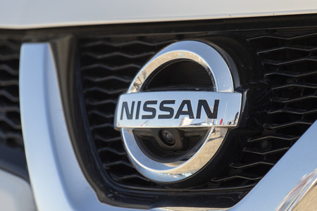 Salerno, ITALY - June 29, 2019: close-up of the NISSAN logo to mean a concept