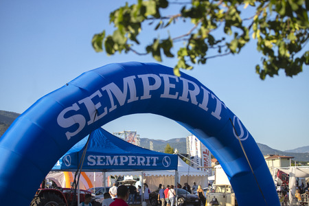 Salerno, ITALY - June 29, 2019: SEMPERIT advertising billboard to understand a concept