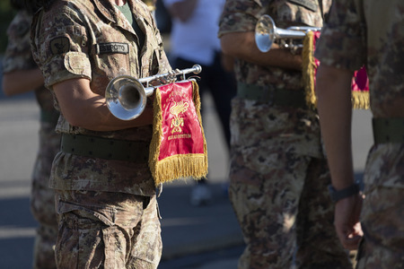 Eboli, Italy - June 29, 2019: Musical band of the Italian army - close up during a civil demonstration. 報道画像