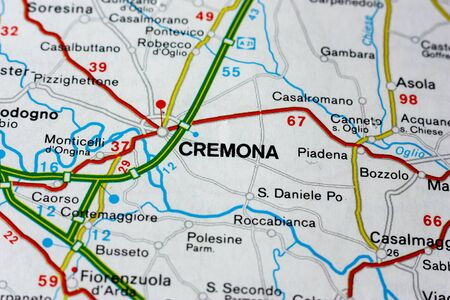 Geographic map of European country Italy with Cremona city to understand a concept