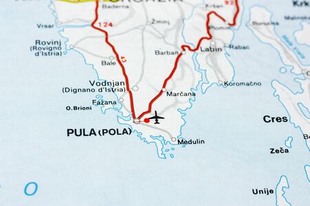 Geographic map of European country Croatia with Pula city to understand a concept