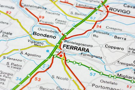 Geographic map of European country Italy with Ferrara city to understand a concept Banco de Imagens