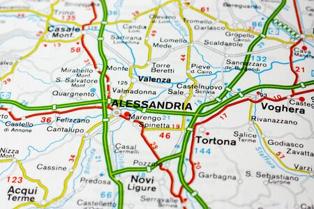 Geographic map of European country Italy with Alessandria city to understand a concept