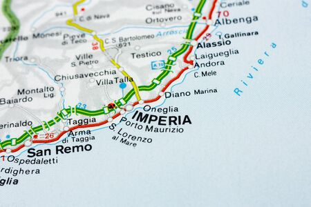 Geographic map of European country Italy with Imperia city to understand a concept Banco de Imagens