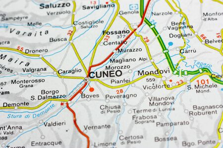 Geographic map of European country Italy with Cuneo city to understand a concept Banco de Imagens