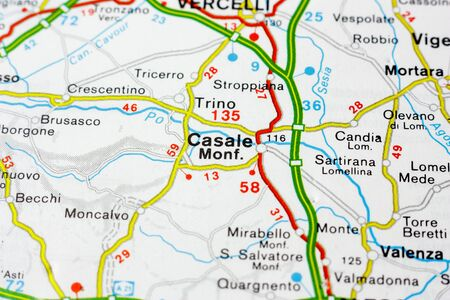 Geographic map of European country Italy with Casale Monferrato city to understand a concept Banco de Imagens