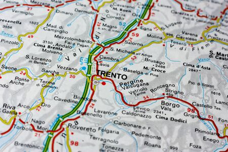 Geographic map of European country Italy with Trento city to understand a concept