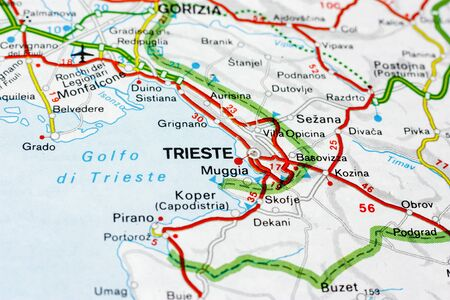 Geographic map of European country Italy with Trieste city to understand a concept Banco de Imagens