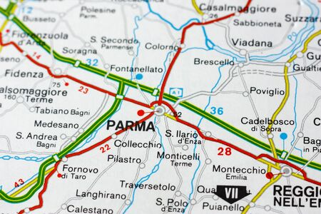 Geographic map of European country Italy with Parma city to understand a concept Banco de Imagens