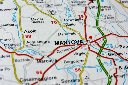 Geographic map of European country Italy with Mantova city to understand a concept Banco de Imagens