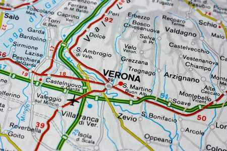 Geographic map of European country Italy with Verona city to understand a concept