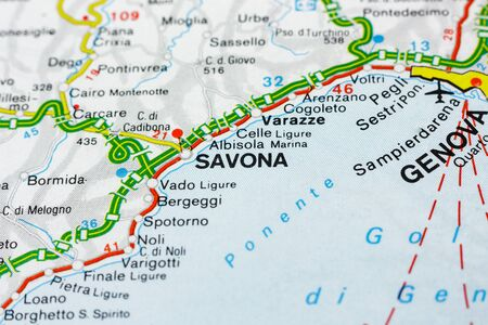 Geographic map of European country Italy with Savona city to understand a concept