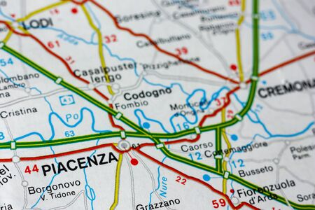 Geographic map of European country Italy with Piacenza city to understand a concept Banco de Imagens