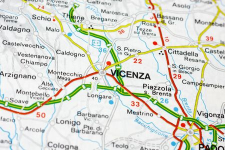 Geographic map of European country Italy with Vicenza city to understand a concept