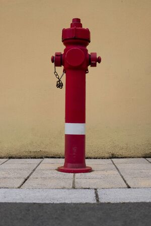 Hot red water source for the firemans:valves Stock fotó
