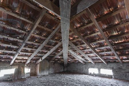 SCANZANO JONICO - MATERA, ITALY - August 22, 2019 interior of the roof structure, a penthouse dating back to 1938 to mean an industrial concept
