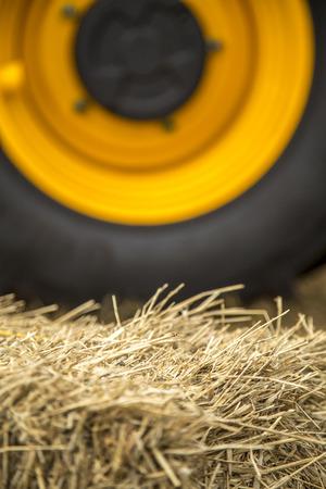 Hay tractor wheel Stock Photo
