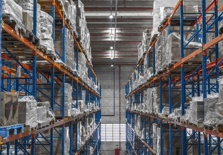 Operai capannone logistico e casse di distribuzione e carrello elevatore in funzione