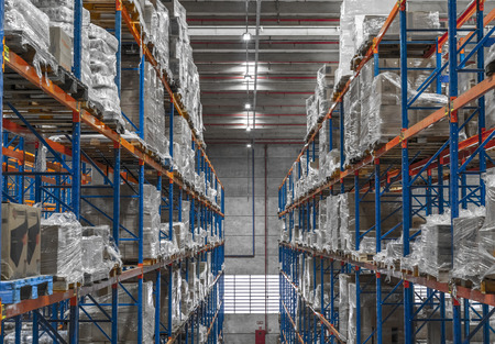 Pracownicy szopy logistycznej i skrzynek rozdzielczych oraz wózek widłowy w eksploatacji