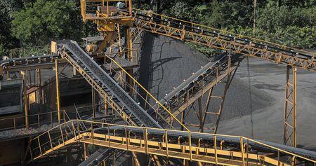 Conveyor belt mine line rock transport Stockfoto